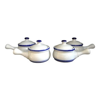 Vintage Blue & White Lidded Soup Crocks- Set of 4