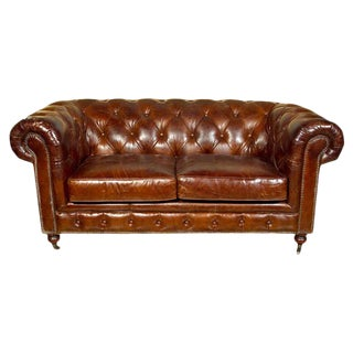 English Leather Chesterfield Sofa, Settee For Sale