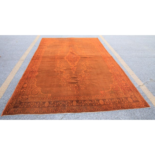 Islamic Vintage Turkish Orange Rug - 7'4 X 10'7 For Sale - Image 3 of 4