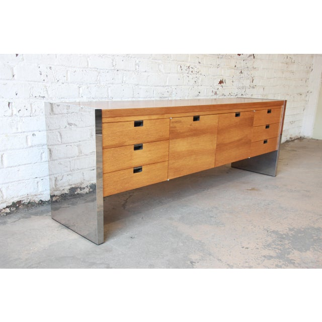 Dunbar Furniture Roger Sprunger for Dunbar Mahogany and Chrome Executive Credenza For Sale - Image 4 of 11