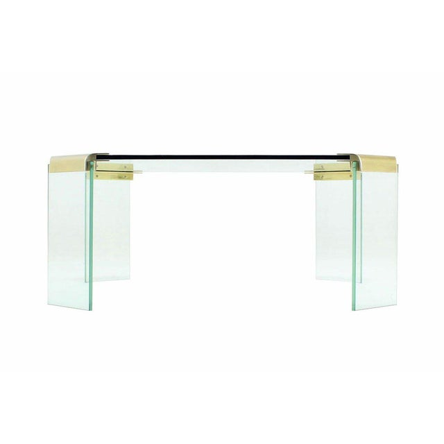 Mid-Century Modern Large Square Glass Top Legs Brass Bracket Base Coffee Table For Sale - Image 3 of 5