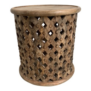African Bamilake Style Wood Stool / Side Table For Sale