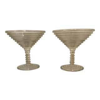 Anchor Hocking Manhattan Pattern Martini /Compote Glassware - a Pair For Sale