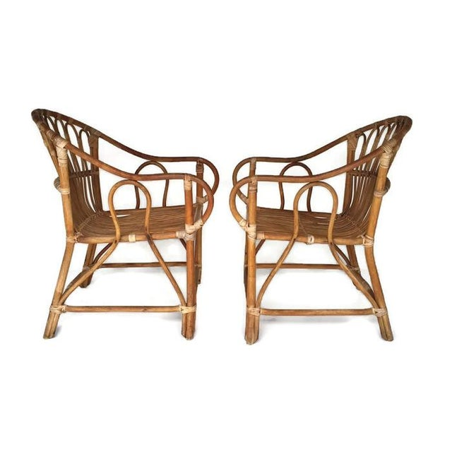 Mid-Century Bamboo Chairs Franco Albini Style Arm Chairs - a Pair - Image 4 of 6