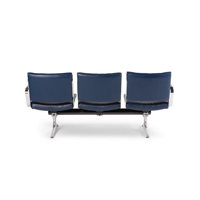 American Chromcraft Navy 3-Seat Original Vinyl Airport Bench For Sale - Image 3 of 4