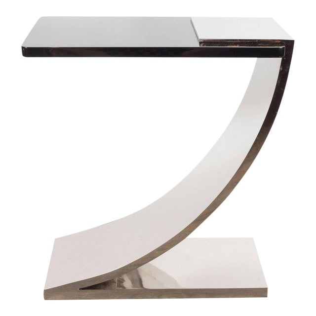Sophisticated Modernist Polished Nickel and Black Lacquer Side or Drinks Table - Image 1 of 8