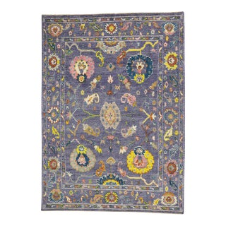 Modern Oushak Style Rug with Bright Colors, Contemporary Lavender Oushak Rug