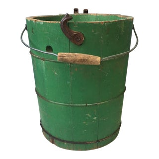 Vintage Green Painted Metal Banded Stave Bucket