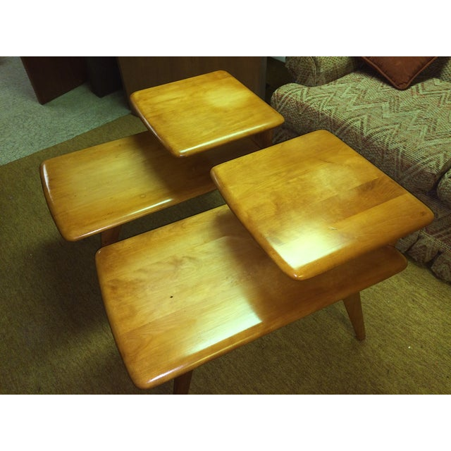2 Heywood Wakefield Champagne Two-Tier Lamp Tables - Image 3 of 8