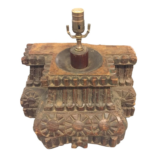 Antique Hand Carved Column Lamp - Image 1 of 11