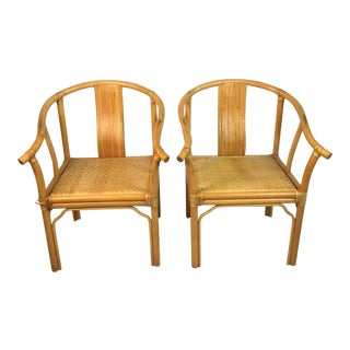 Asian Inspired Rattan Chairs - a Pair For Sale