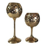 Image of Vintage Brass Quatrefoil Cutout Tealight Candle Holders - a Pair For Sale