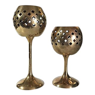 Vintage Brass Quatrefoil Cutout Tealight Candle Holders - a Pair For Sale