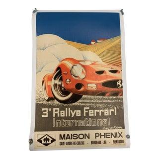 Retro Ferrari 250 Gto International Rally Maison Phenix Poster 1960s For Sale