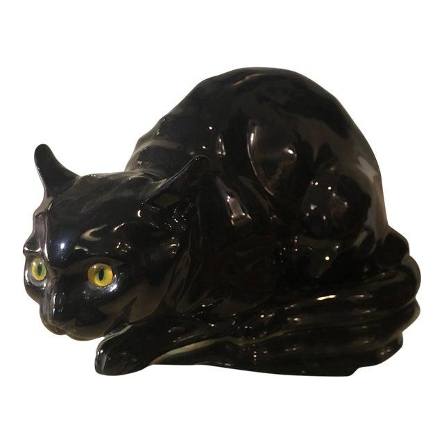 Rare Antique Wiener Kunst Keramische Werkstatte Austria Ceramic Black Cat W Glass Eyes For Sale