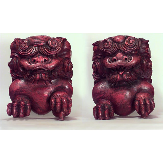 Asian Chinese Style Red Lacquered Carved Figures of Squatting Foo Dogs- A Pair For Sale - Image 4 of 4