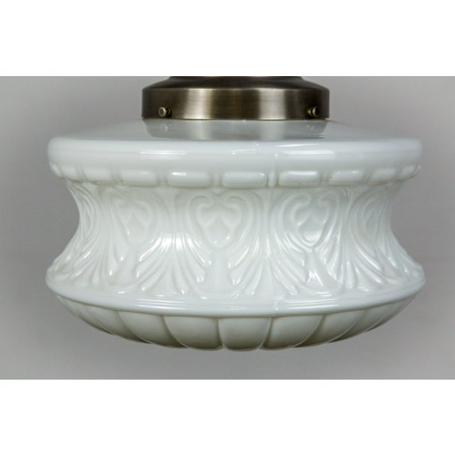 Traditional Molded Milk Glass Pendant Light For Sale - Image 3 of 8
