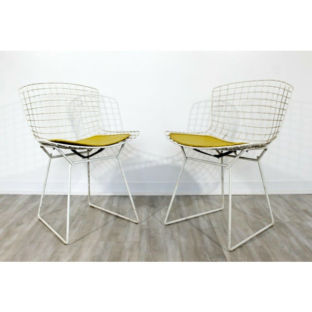 Metal Contemporary Modern Harry Bertoia for Knoll Set 5 Side Dining Chairs 1980 Yellow For Sale - Image 7 of 11