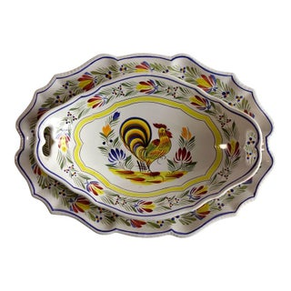 French Quimper Rooster Dish Set