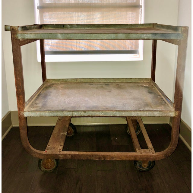 Mid 20th Century Vintage Industrial Bar Cart For Sale - Image 5 of 5