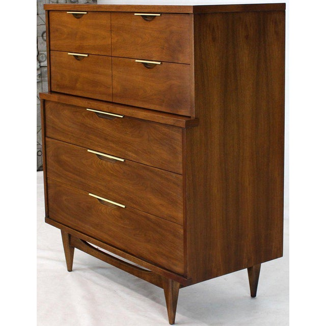Kent Coffey Five Drawers Walnut High Chest Dresser For Sale - Image 4 of 11