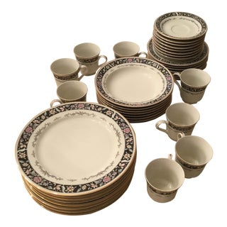 United 'Ebony Bouquet 215' Surgical Steel 40-Piece Fine China Set For Sale