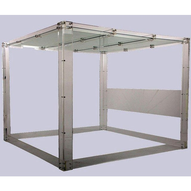 Lucite and Mirrored Top King Size Bed - Image 2 of 11