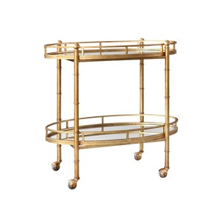 Art Deco Bungalow 5 Bamboo Gold Leaf Bar Cart