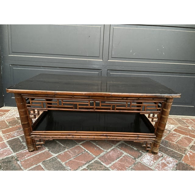 Late 19th Century Two Tier Vintage Bamboo Coffee Table Black Lacquer Top For Sale - Image 5 of 6