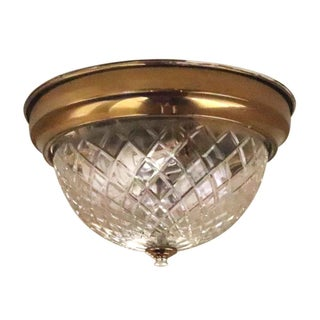 Salvaged Waldorf Cut Crystal Flush Mount Light For Sale
