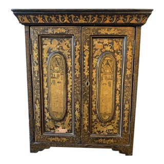 19th Century Chinese Back and Gold Lacquer Collector's Cabinet For Sale