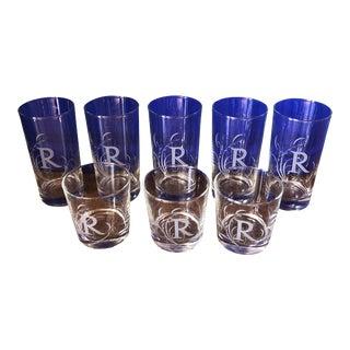 Vintage R Monogrammed Scrolling Glasses - Set of 8