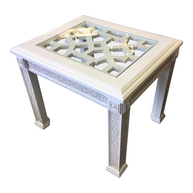 1950s Vintage Chinese Chippendale Style Fretwork Design End Table For Sale