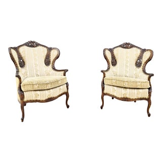 1950s Antique French Carved Mahogany Chairs- a Pair For Sale