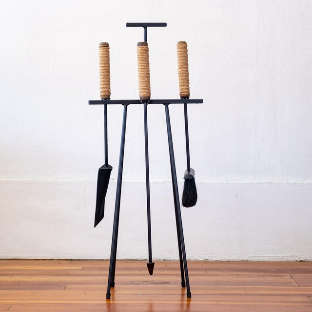 1950s Tony Paul Iron Cord Wrapped Wood Handle Fireplace Tools For Sale - Image 13 of 13