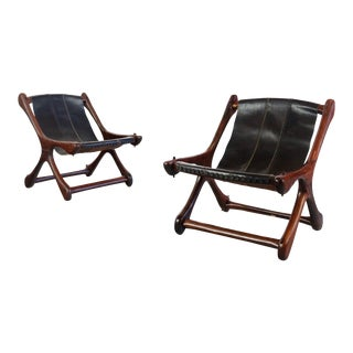 Don S. Shoemaker Sloucher Rosewood & Leather Sling Chairs for Señal Furniture For Sale