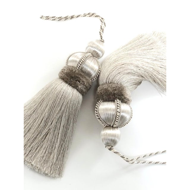 Silver Silver Key Tassels With Cut Ruche - a Pair For Sale - Image 8 of 11