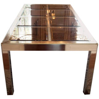 Superb Mid Century Modern Mastercraft Brass and Bevelled Glass Dining Table