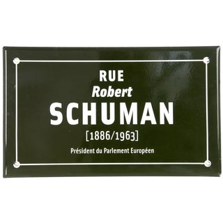 Vintage French Enamel Street Sign for Rue Schuman For Sale