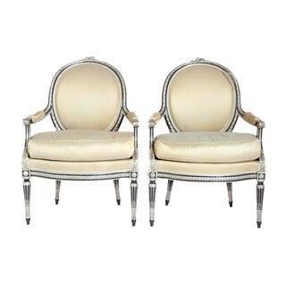 Louis XVI-Style Silvered Fauteuils / Pair For Sale