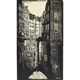 Old Amsterdam Woodcut Print by John DePree For Sale