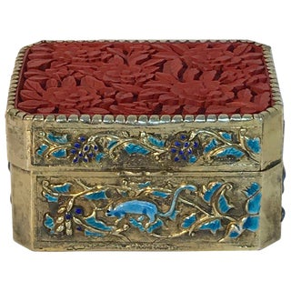 Chinese Export Silver Vermeil Enamel Cinnabar Box For Sale
