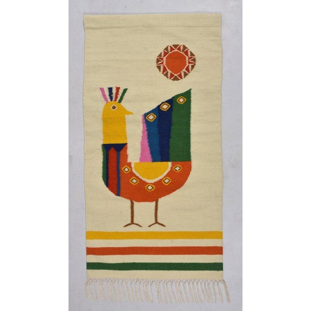 2010s Mid Century Modern Style Wool Bird Tapestry Tassel Wall Hanging For Sale - Image 5 of 6