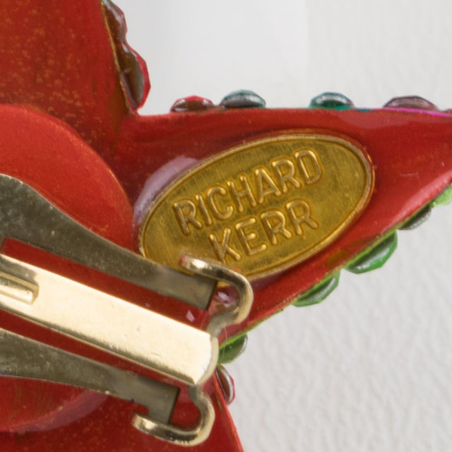 1980s Richard Kerr Multicolor Star Jeweled Clip Earrings For Sale - Image 5 of 7