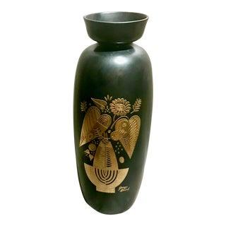 Vintage George Briard for Hyalyn Mid Century Modern Black & Gold Vase