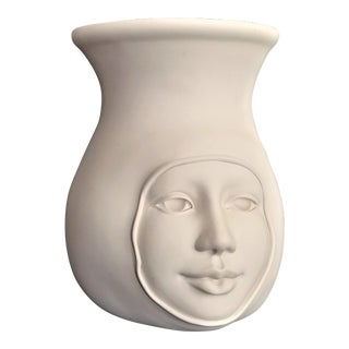 Vintage 1977 White Ceramic Studio Art Pottery Face Vase - Signed and Dated For Sale