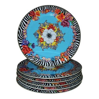 """Rosenthal Versace """"Hot Flowers"""" Charger Plates - Set of 6 / 12 For Sale"""