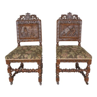 James Shoolbred Tottenham House London Barley Twist Chairs - A Pair For Sale