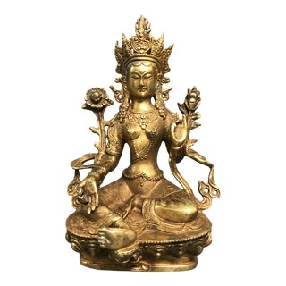 Gold Gilt Bronze Chinese Art Quanyin Sculpture For Sale