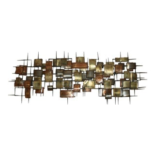 Late 20th Century Signed Brutalist Metal Nail Art Wall Sculpture For Sale